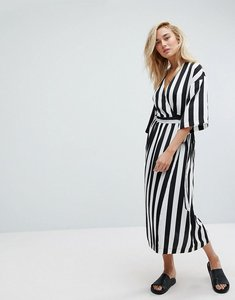 Read more about Moss copenhagen wrap front dress with kimono sleeves in monochrome stripe - black white stripes