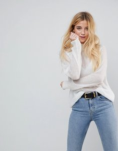 Read more about Asos jumper in sheer knit with funnel neck - cream