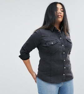 Read more about Asos curve denim fitted western shirt in washed black - black