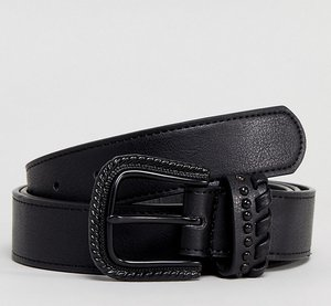 Read more about Asos plus slim faux leather belt in black with matte black western buckle - black