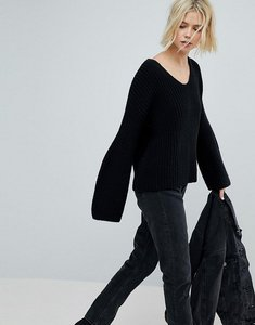 Read more about Weekday v neck ribbed knit jumper - black
