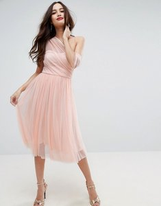 Read more about Asos dobby mesh one shoulder midi prom dress - nude