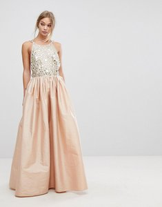 Read more about French connection embellished maxi dress - rose gold
