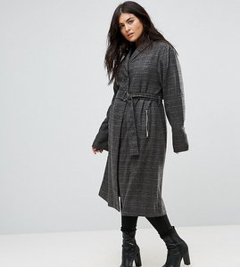 Read more about Religion plus maxi duster coat in tweed check - multi