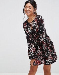 Read more about Asos v neck smock dress with balloon sleeve in floral print - floral print