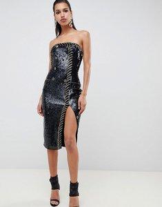Read more about Asos design embellished sequin tux bandeau midi dress - black
