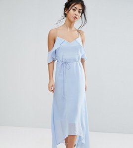Read more about True decadence petite frill cold shoulder cami maxi dress with ruffle hem detail - ice blue