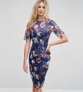 Read more about Paper dolls tall all over printed floral lace pencil dress - multi