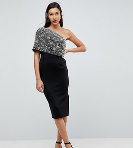 Read more about Asos tall scattered embellished one shoulder scuba midi pencil dress - black