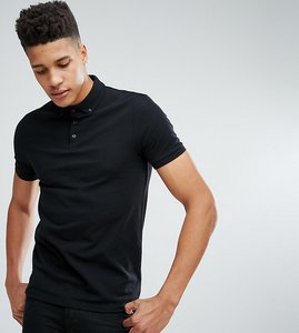 Read more about Asos tall pique polo with button down collar in black - kidney