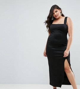 Read more about Asos curve square neck scuba maxi dress with thigh split - black