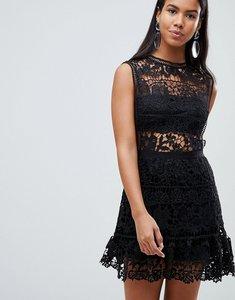 Read more about Rare london crochet drop waist dress - black