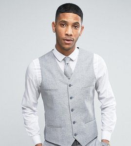 Read more about Noak skinny wedding suit waistcoat in linen nepp - grey
