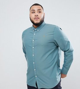 Read more about Farah brewer slim fit shirt oxford shirt in green - green