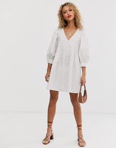 Read more about Asos design v front v back smock mini dress in polka dot