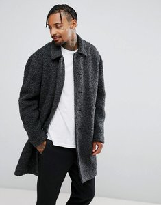 Read more about Asos borg overcoat in charcoal - charcoal
