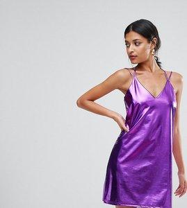 Read more about Club l metallic cami strap mini slip dress - purple
