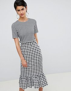 Read more about Asos design midi dress with pep hem in contrast check - check print