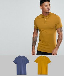Read more about Asos design muscle fit jersey polo 2 pack save - dk denim cigar