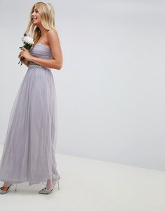 Read more about Asos design bridesmaid bandeau mesh embellished waist maxi dress - dusty mauve
