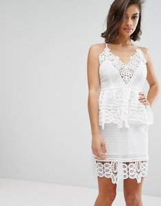 Read more about Missguided cutwork lace double layer dress - white