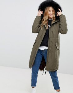 Read more about New look multi coloured faux fur lined parka - dark khaki