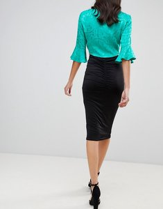 Read more about Asos design slinky pencil skirt with ruched back detail - black