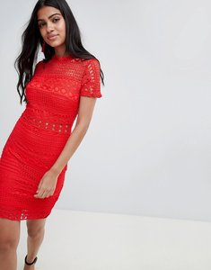 Read more about Parisian high neck short sleeve lace shift dress - red