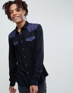 Read more about Asos design regular fit colour block western shirt in black - black
