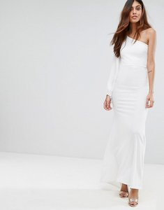 Read more about Tfnc off shoulder fishtail maxi dress with one shoulder blouson sleeve - white