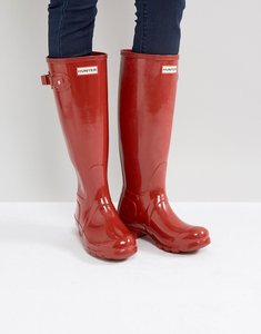 Read more about Hunter original tall military red gloss wellington boots - military red