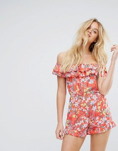 Read more about Bershka floral and frill bardot playsuit - orange
