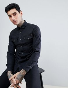Read more about Jack jones vintage western denim shirt in light wash - black denim