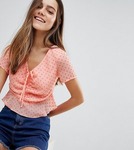 Read more about Glamorous petite crop top with ruched tie front - light orange hearts