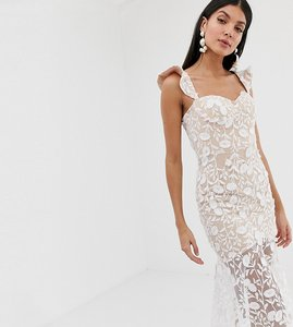 Read more about Jarlo tall all over lace embroidered midi dress with frilly off shoulder detail in white