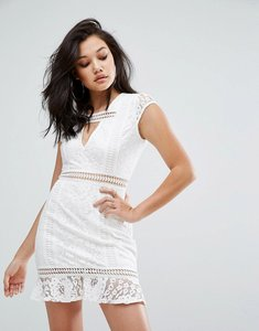 Read more about Prettylittlething lace cap sleeve shift dress - white