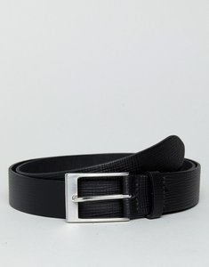 Read more about Asos smart slim belt in black leather with saffiano emboss - black