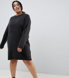 Read more about Asos design curve knitted mini dress in fluffy yarn - charcoal