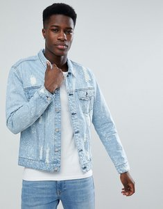 Read more about Only sons denim jacket with bleaching and distress - light blue denim