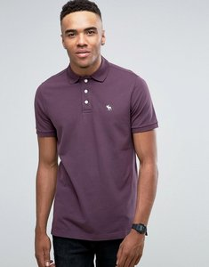 Read more about Abercrombie fitch pique polo stretch slim fit icon logo in plum - plum perfect