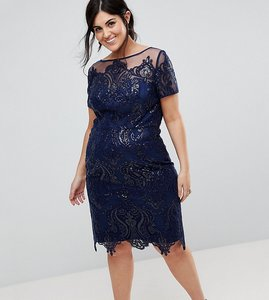 Read more about Chi chi london plus cap sleeve midi pencil dress - navy