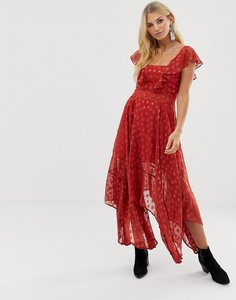 Read more about Religion maxi dress in sheer dobby with frill detail