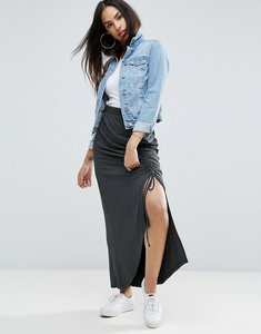 Read more about Asos jersey maxi skirt with thigh split and channelling detail - charcoal marl