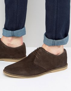 Read more about Asos derby shoes in brown suede with piped edging - brown