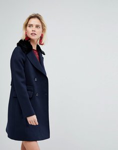 Read more about Warehouse double breasted faux fur collar coat - navy