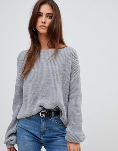 Read more about Missguided off shoulder knitted jumper - grey
