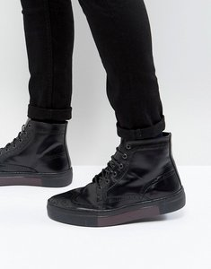 Read more about Asos lace up brogue boots in black leather with hybrid sole - black