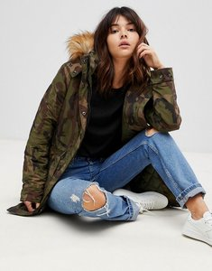 Read more about Only camo parka with faux fur lining - green