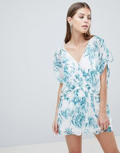 Read more about Asos design smock playsuit in printed crinkle chiffon - multi