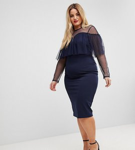 Read more about Asos curve dobby long sleeve ruffle bodycon midi dress - navy